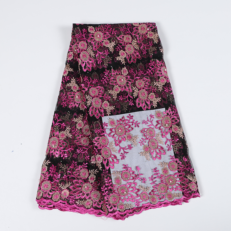 2019 Best Selling French Nigerian Laces Fabric High Quality Floral Embroidered African Tulle Laces Fabric Beaded For Woman Dress
