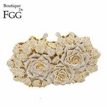 Éblouissant femmes or Rose fleur ajouré cristal soirée métal pochettes petit minaudière sac à main sac à main boîte de mariage pochette