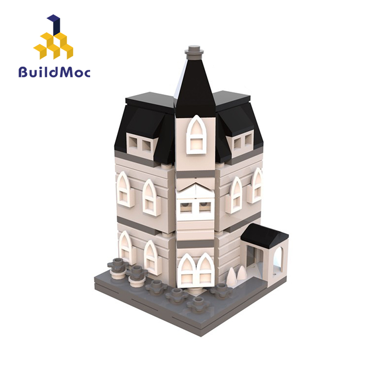 BuildMoc MOC 12846 Addams Family Mansion Mini Modular Compatible Technic Car Blocks For Children Gift