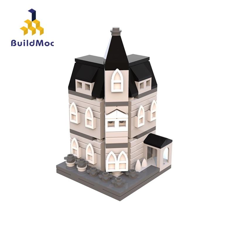 BuildMoc MOC 12846 Addams Family Mansion Mini Modular Compatible Technic Car Blocks For Children Gift