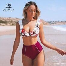 CUPSHE maillot de bain deux pièces, Bikini, modèle Floral rouge, taille haute, à volants, ensemble Sexy, pour la plage, débardeur, maillots de bain femmes