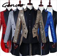 Genuo 2019 Men Gold Silver Red Blue Black Sequin Slim Fit Tailcoat Stage Singer Prom Dresses Costume Wedding Groom Suit Jacket