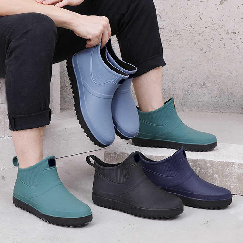Mannen Rubber Regen Schoenen Slip Op Waterdichte Lage Hak Buis PVC Regen Laarzen Werken 2019 Hot Koop heren laarzen