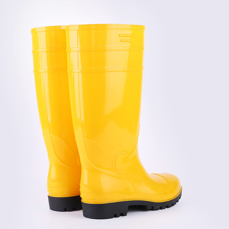 Men Labor Safety Rain Shoes Anti-smashing And Anti-penetration Gong Kuang Xue Steel Top Steel Bottom Protection Boots Anti-slip