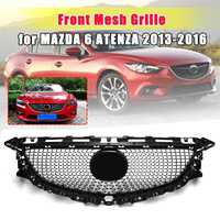 For Mazda 6 atenza 2013 2014 2015 2016 Front Bumper Upper Grills Diamond Grille ABS Mesh Trims Cover Car styling