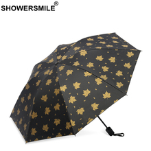 SHOWERSMILE Leaves Umbrella Black Gold Rain and Sun Umbrellas Coating Folding Uv Protection Parasol