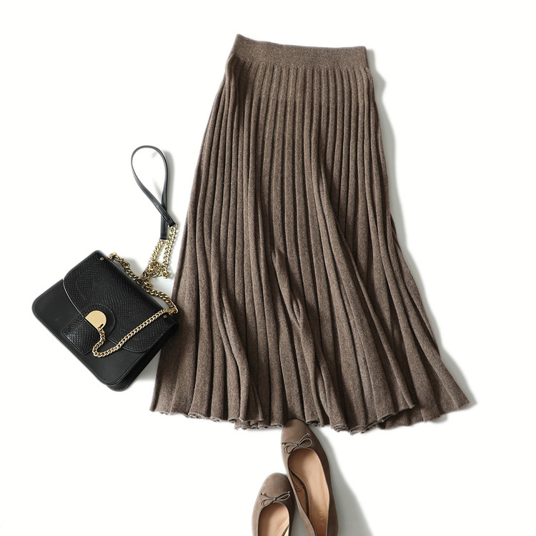 Ka Sana Spring And Autumn New Style Cashmere Mid-length Half-length Skirt Women's A Version Pleated Important Thick Knitted Dres