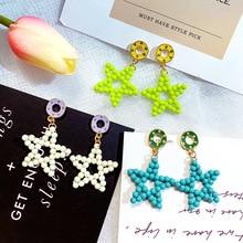DREJEW Green Blue Yellow Star Acrylic Beaded Statement Earrings 2019 925 Alloy Drop for Women Fashion Jewelry HE8151
