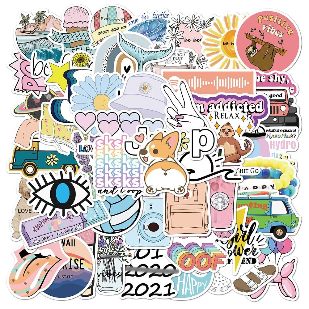 50PCS New Simple Cartoon Fresh Vinyl Stickers Graffiti DIY To Laptop Skin Skateboard Suitcase Decals For Macbook/Asus/Xiaomi/HP