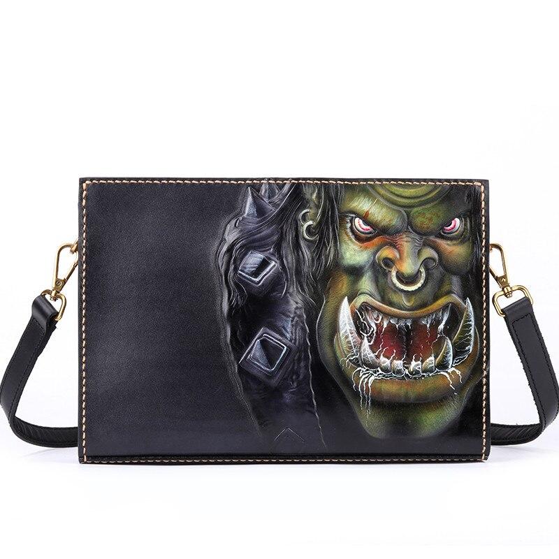Women Men Vegetable Tanned Leather Shoulder Bag Money Holder Cowhide Hand-carved Warcraft Wolf Clutch Purse Clutches Envelope