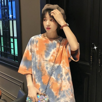 Women  Half Sleeve O Neck Casual T Shirt Fashion t shirt Summer Tie Dye Print T-Shirt Tops