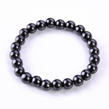 1Pc Healthy Round Black Stone Magnetic Therapy Bracelet Health Care Hematite Stretch For Men Women