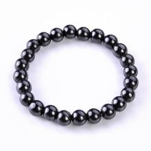 1Pc Healthy Round Black Stone Magnetic Therapy Bracelet Health Care Magnetic Hematite Stretch Bracelet For Men Women цены