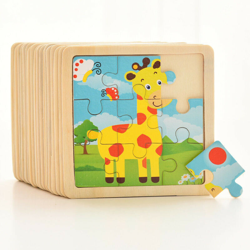 17 Styles Animals Wooden Puzzle  Development Learning Color Shape Toddler Baby Kids Child Educational Toy Puzzle Cartoon