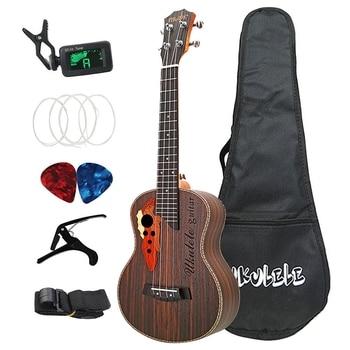 26 Inch Tenor Ukulele Grape Sound Hole Hawaiian Guitar 4 Strings Rosewood Ukelele Set with Bag