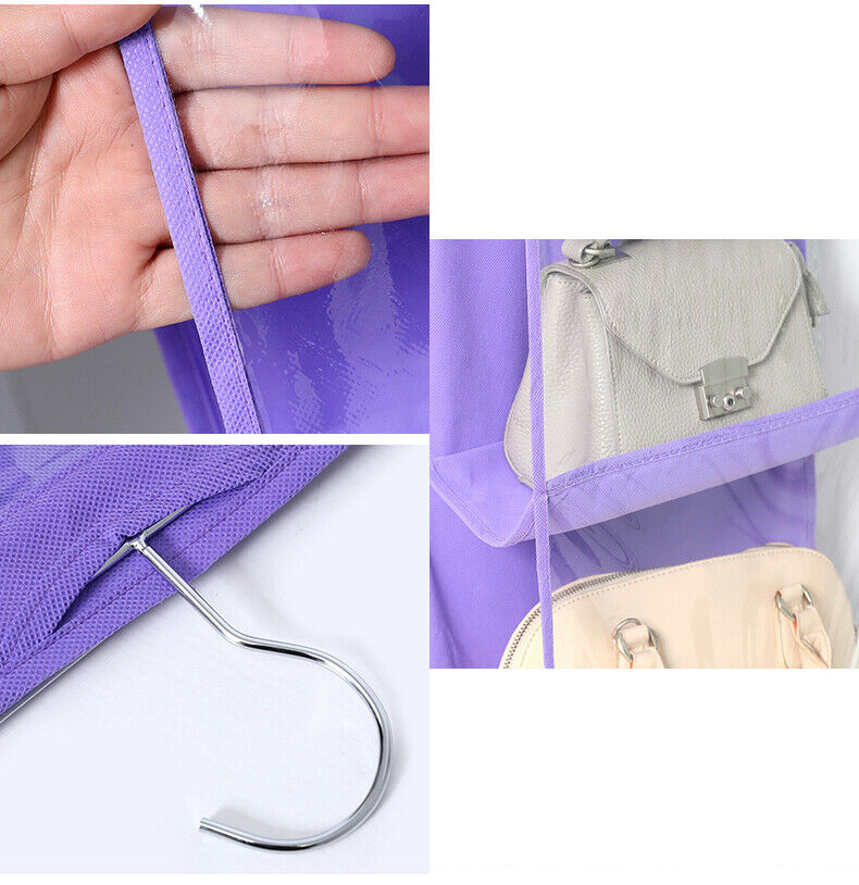 Hcd397744b0a14e008bdd7a59e2dd70a1M - 6 Pocket Foldable Hanging Bag 3 Layers Folding Shelf Bag Purse Handbag Organizer Door Sundry Pocket Hanger Storage Closet Hanger