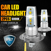 2pcs IP67 Auto Car Lights Aluminum Accessory H7 LED Headlight Lamp COB 110W 20800LM 6000K CSP Chips High-Low Beam