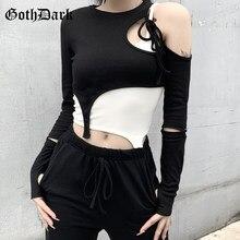 Goth Dark Harajuku negro Bandage gótico camisetas Grunge un hombro Crop Tops y blanco sin mangas Camis conjunto de dos piezas para mujeres