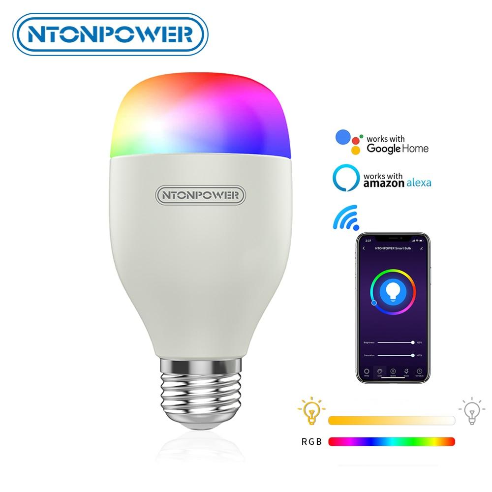 NTONPOWER Wi-fi Inteligente Lâmpada 7W RGB Magic Light Bulb Lamp E27 Dimmable Lâmpada Wake-Up Luzes Compatíveis com Alexa google Casa