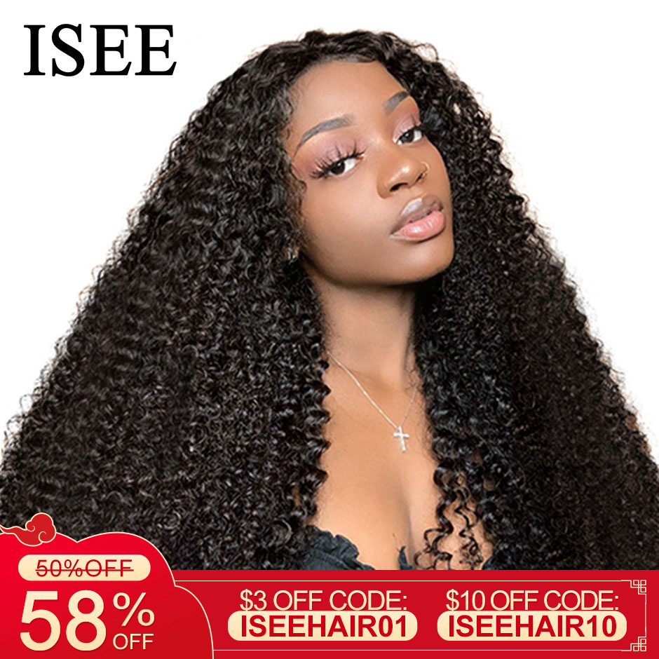 Mongolian Kinky Curly Human Hair Wigs 360 Lace Frontal Wig 150% Density Full ISEE HAIR Kinky Curly Lace Front Human Hair Wigs