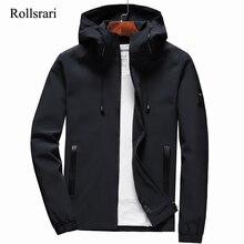 Chaqueta informal con capucha para hombre, chaqueta con cremallera, color liso, corte entallado, para primavera y otoño, K11