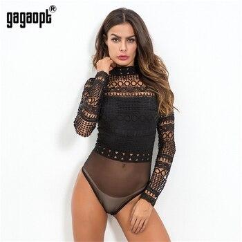 Gagaopt 2019 Autumn Lace Bodysuit Women Black Long Sleeve Sexy Bodysuit Ladies Hollow Out Bodycon Bodysuit Jumpsuit Overalls 2