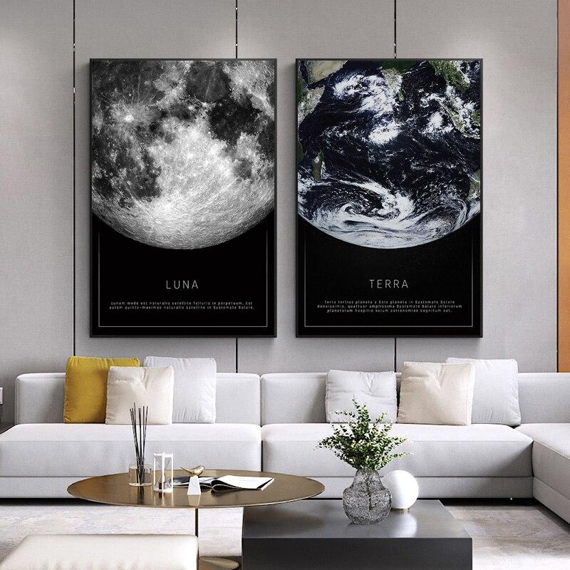 Картина на холсте, черно-белый постер Луны, земли, видимой из космоса, украшение для гостиной, настенная Скандинавская картина