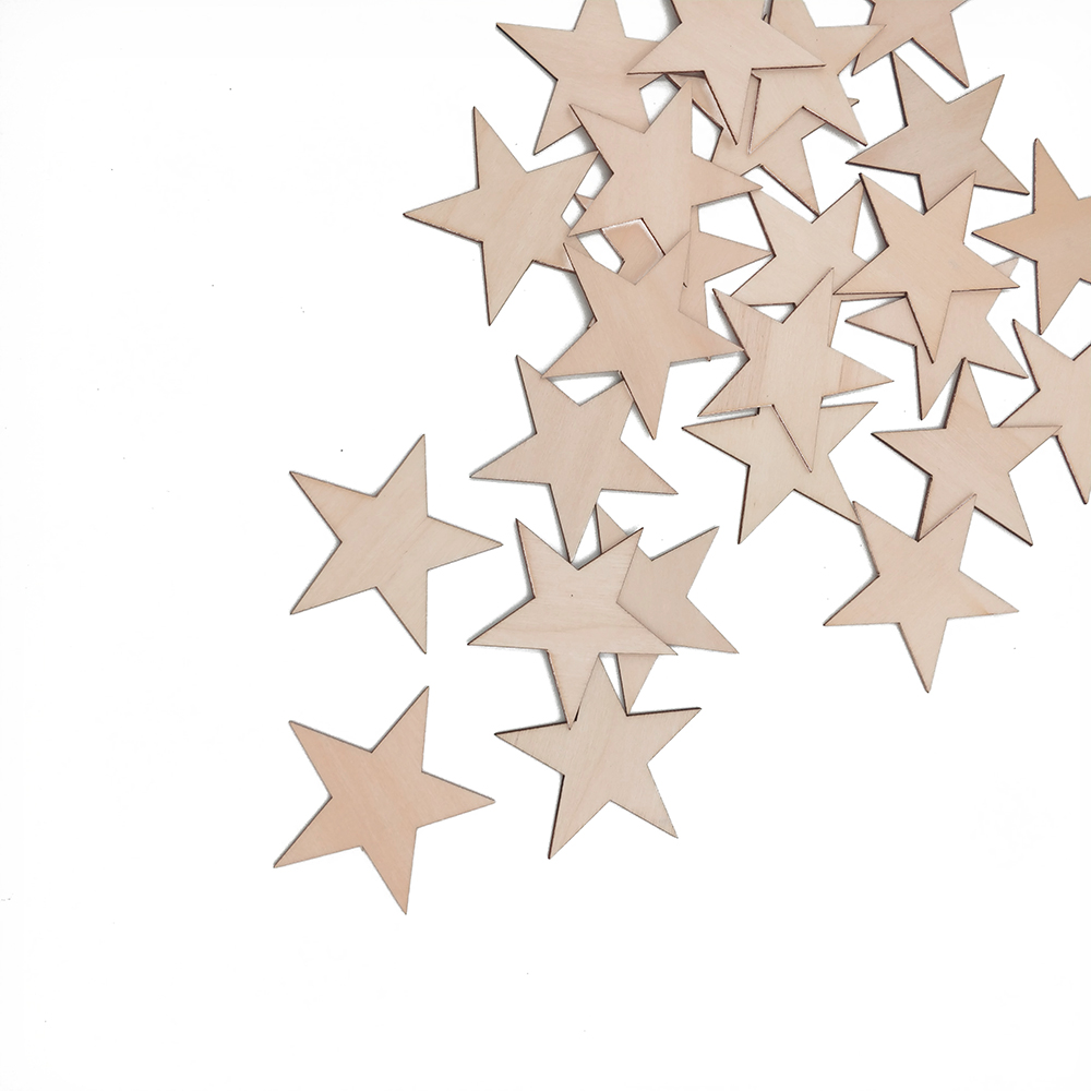 10-80 мм деревянные звезды Вырез формы деревянные украшения для творчества декоративно-прикладное искусство Рождество Свадьба Декор