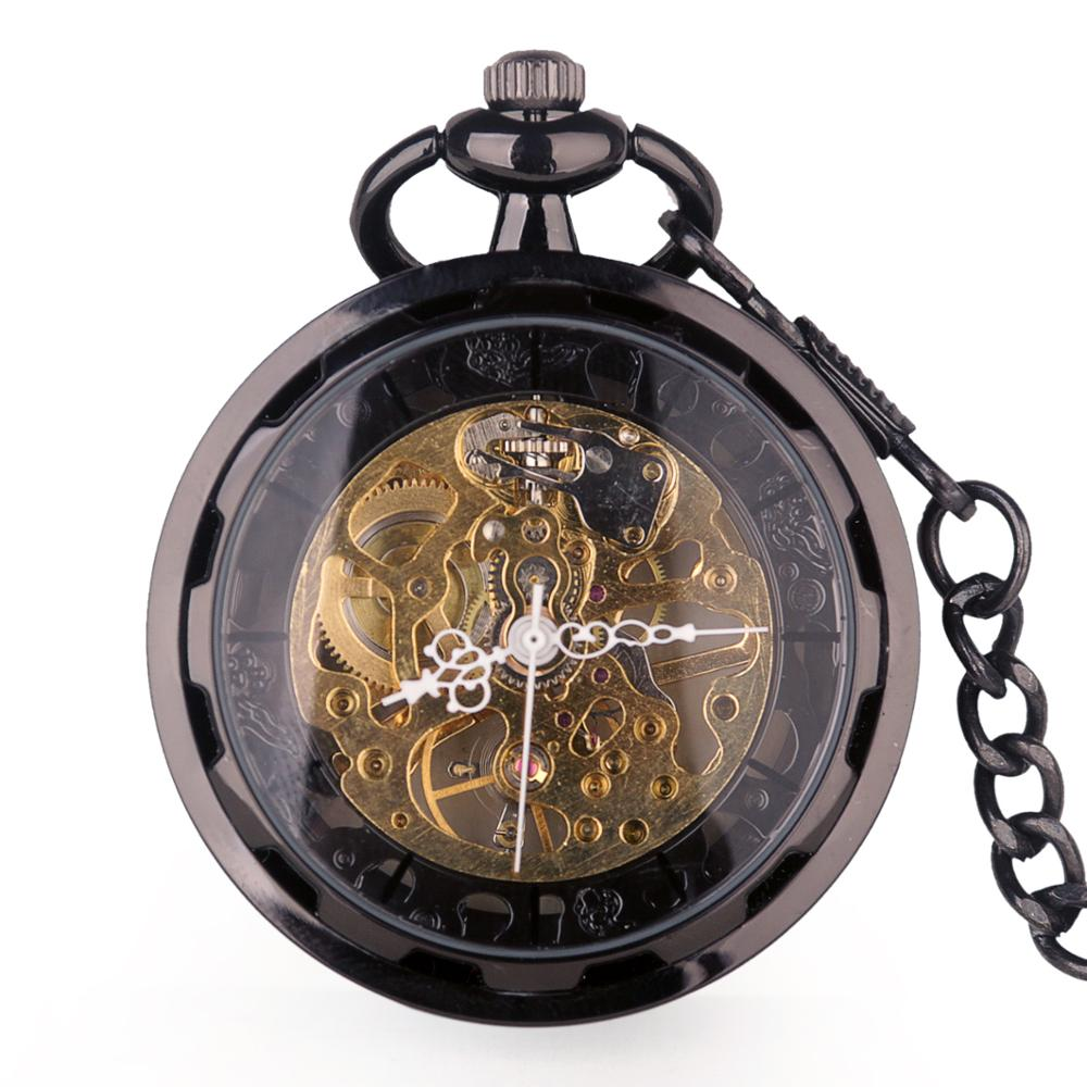 Automatic Mechanical Pocket Watch Retro Vintage Antique Black Hand-winding Watch With FOB Chain Unisex For Men Women Gifts
