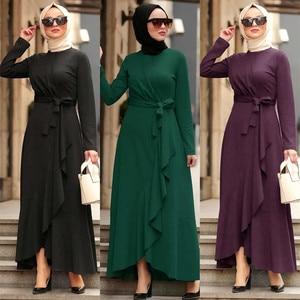 Muslim fashion abaya hijab dress Open abayas for women dubai dresses Long sleeve kaftan moroccan muslim dress women with belt