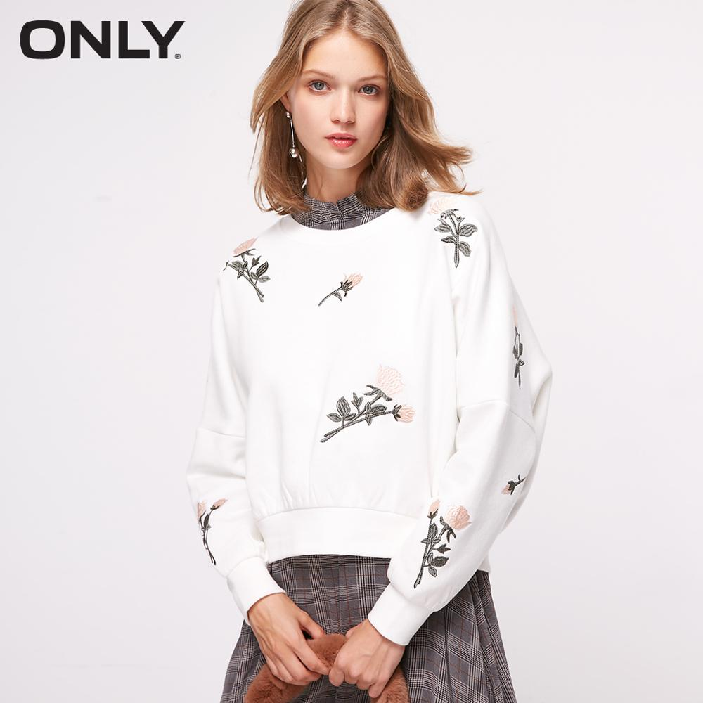 ONLY Autumn New Floral Embroidery Plush Hoodie Sweatshirt   |  11839S550