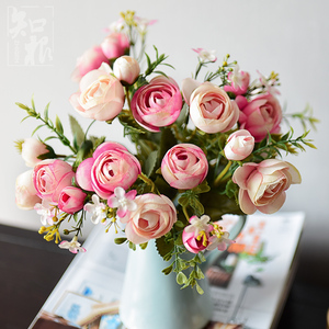 28cm/11in Rose White Silk Camellia Artificial Flowers Bouquet 10 Big Head Cheap Fake Flowers for Home Wedding Decoration Indoor