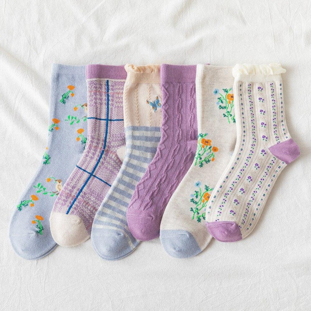 Мультфильм Милый принт в виде бабочки; Женские носки, японский стиль Harajuku Ретро Винтажные повседневные длинные носки до колена для нового года рождественские носки для малышей;|Носки|   | АлиЭкспресс