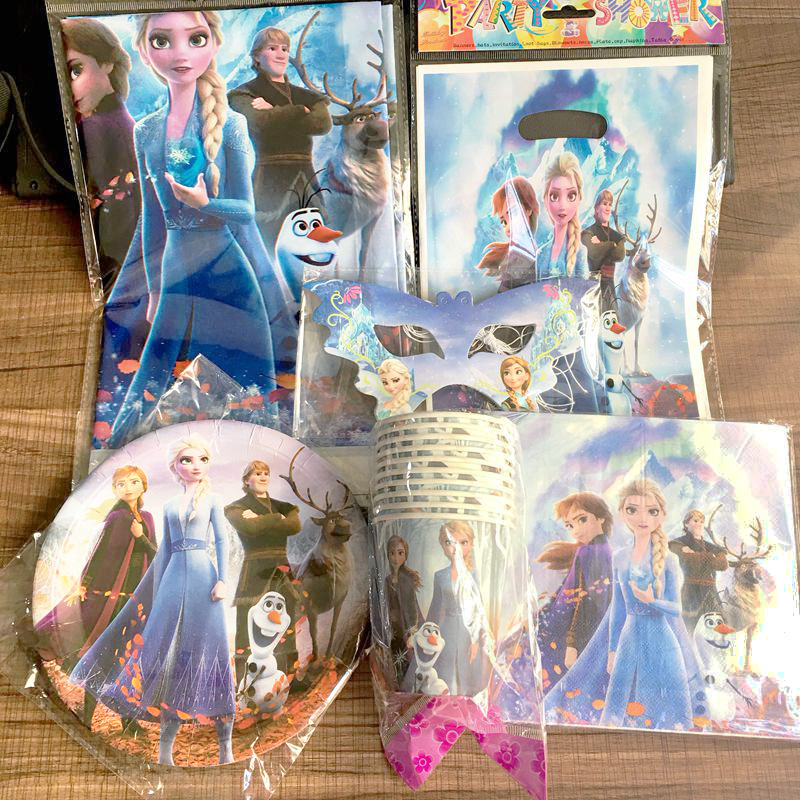 New Frozen 2 Children's Birthday Party Tableware Gift Bag Disposable Paper Cup Paper Tissue Tissue Party Decoration