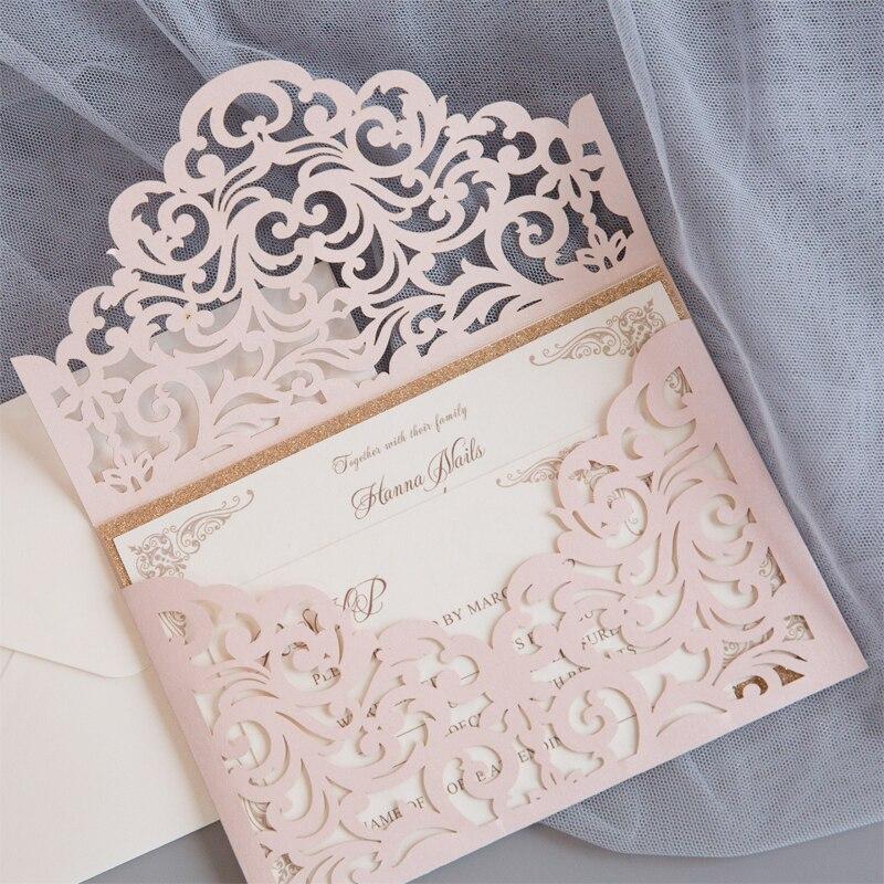 Harte Uitnodigen Blush Shimmer Laser Cut Mouw Met Klassieke Uitnodiging En Glittery Backer-in Kaarten & Uitnodigingen van Huis & Tuin op  Groep 1