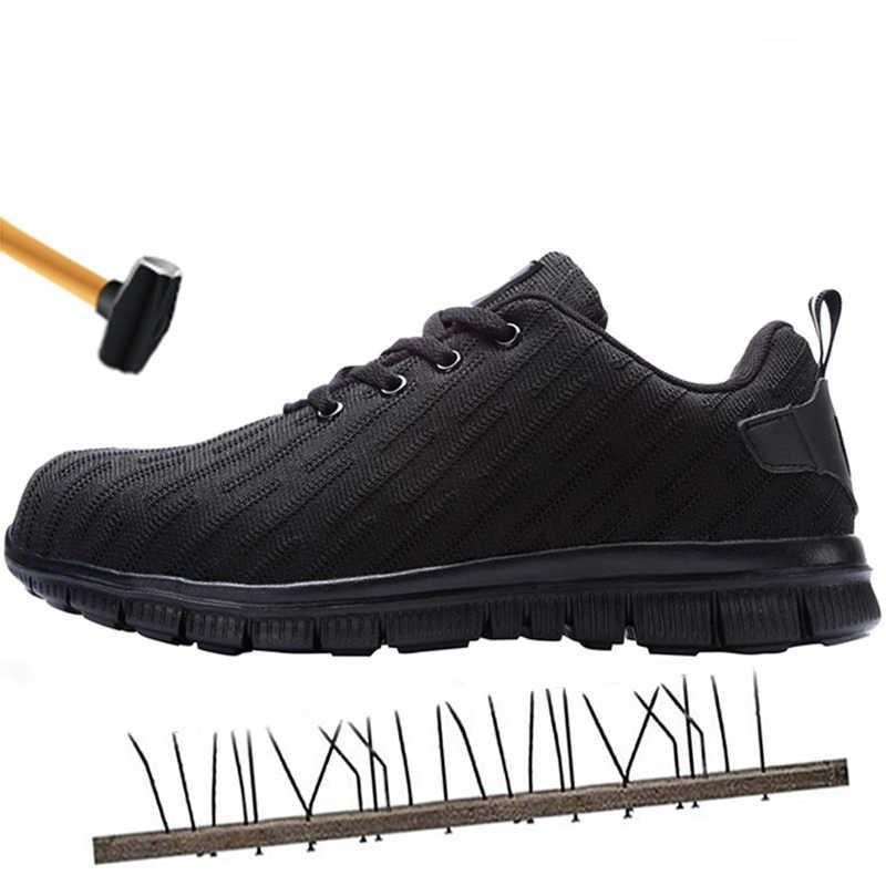 Mannen veiligheid werkschoenen staal anti-collision reflectie teen anti-slip non-slip lichtgewicht ademende constructie sport schoenen