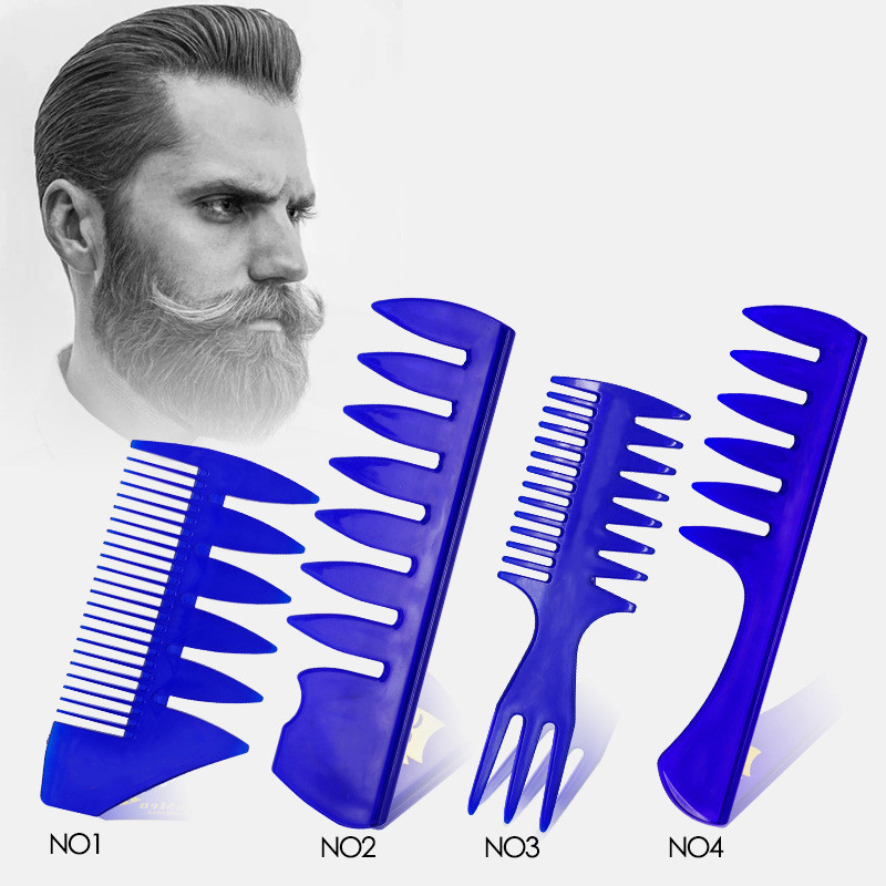 Wide Teeth Hairbrush Fork Comb Men Beard Hairdressing Brush Barber Shop Styling Tool Salon Accessory Afro Hairstyle