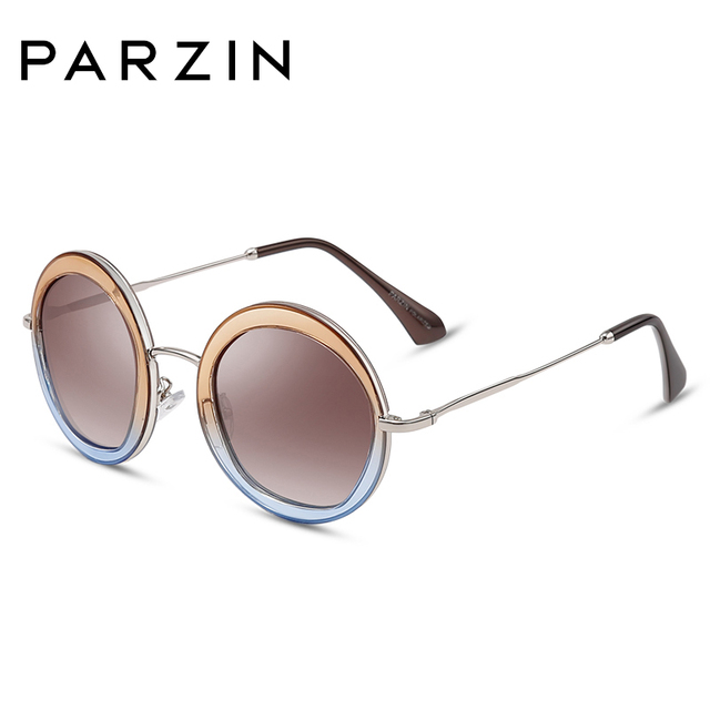 PARZIN 여성 빈티지 편광 선글라스 UV400 럭셔리 브랜드 라운드 태양 안경 여성 유행 안경 운전에 대 한