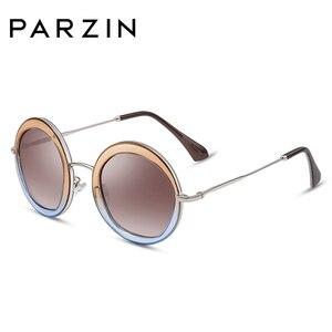 Image 1 - Parzin女性ヴィンテージ偏光サングラスUV400高級ブランドラウンドサングラス女性のための流行のメガネを駆動するための