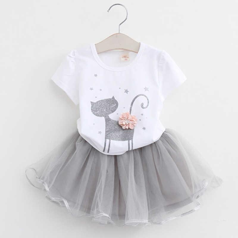 หญิง 2019 ฤดูร้อนใหม่เด็กทารกเสื้อผ้าชุดแฟชั่นเสื้อลูกแมวลายการ์ตูน + สุทธิผ้าคลุมหน้า 2Pcs หญิงเสื้อผ้า