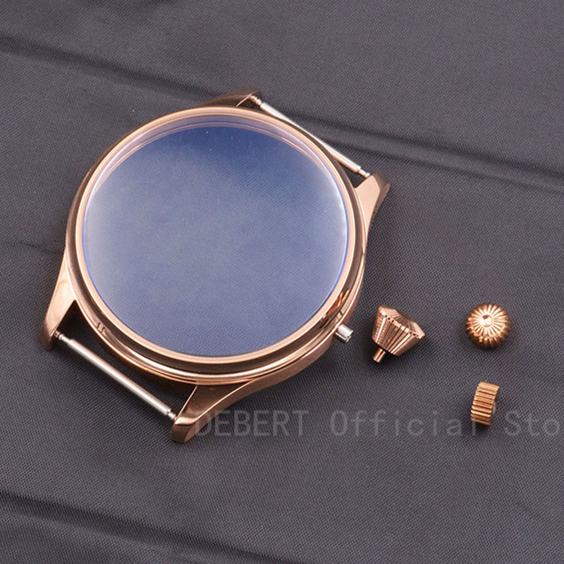 44mm Debert Case Rose Gold PVD Sterile Case Watch Shell Kit ETA 6497 6498 Seagull <font><b>st3600</b></font> hand winding Movement 3 kinds Crown image