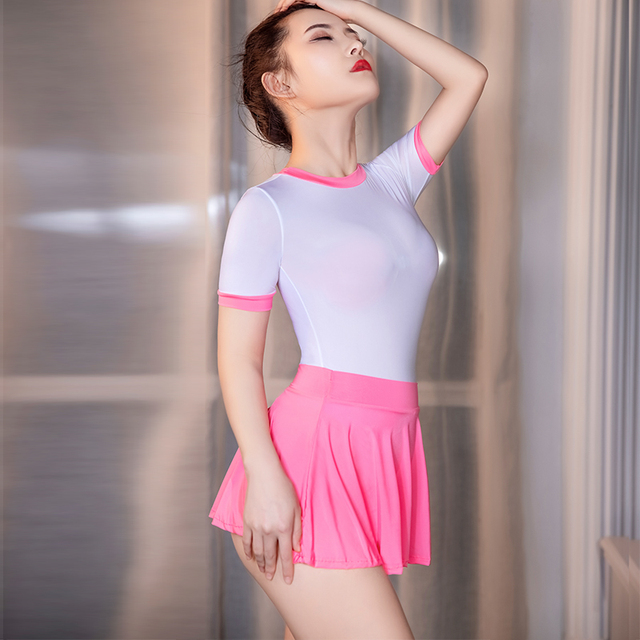 High Elastic Tight Cute Outfits For Women Schoolgirl Cheer Leading Roleplay Sexy Uniform See Through Bodysuit Skirt 2 Peice Sets 5