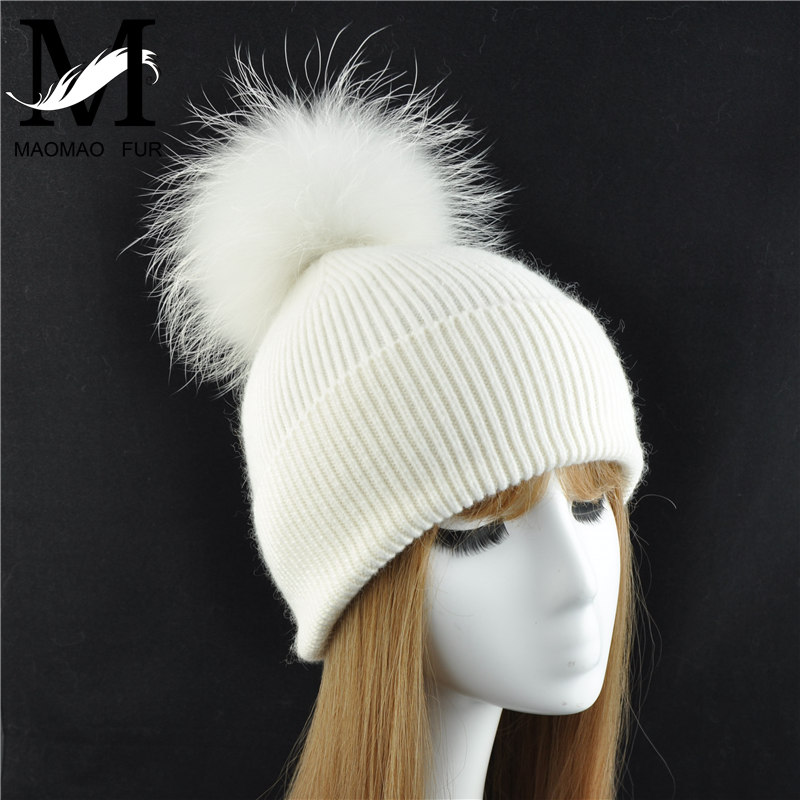 New Women's Hat Winter Beanie Knitted Hat Angora Rabbit Fur Bonnet Girl 's Hat Fall Female Cap with Fur Pom Pom Tops 4