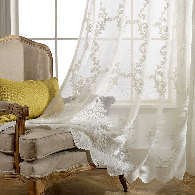 Estilo europeu tule sheer cortinas para sala de estar quarto windows high-grade branco bordado flor voile cortinas