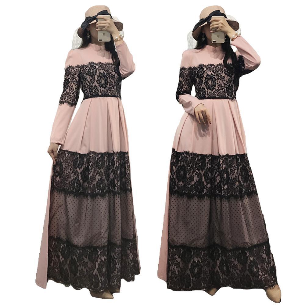 Dentelle élégante Abaya dubaï robe musulmane Abayas pour femmes Ramadan robe Caftan turquie Caftan turc vêtements islamiques dubaï