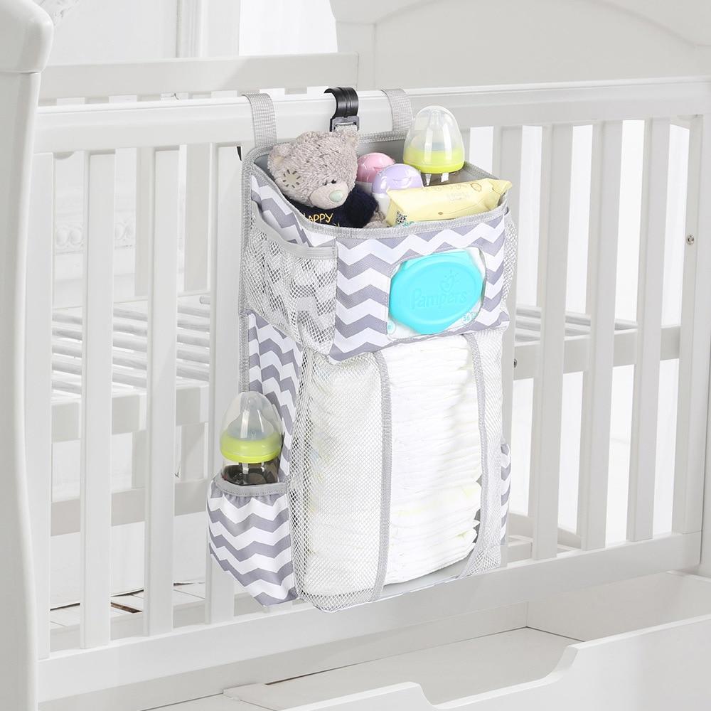 Baby Bed Hanging Bag Detachable Diaper Toy Storage Bag For Crib Infant Newborn Baby Playard Diaper Organizer