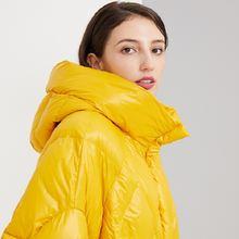Желтый женский легкий утепленный пуховик зимняя куртка женские
