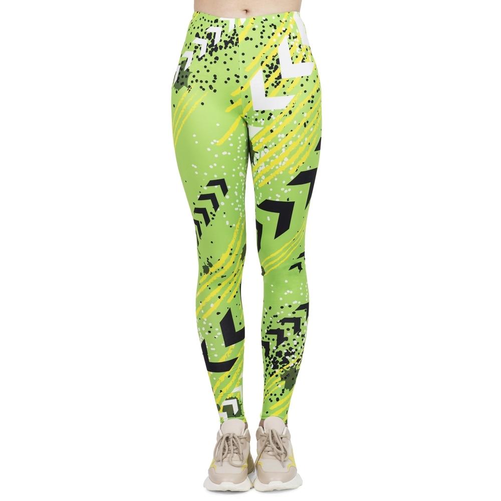 Hot Women Fashion Leggings High Elasticity Legins Workout Jogging Pants Fluorescent Green Neon Printing Sport Leggins