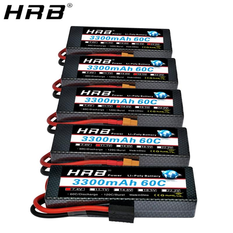 HRB 3300mah Hardcase Lipo Battery 2S 7.4V 3S 11.1V 4S 14.8V 5S 18.5V 6S 22.2V 60C T Deans XT60 Hard Case RC Airplanes Car Parts
