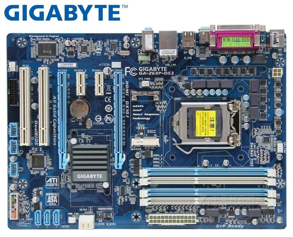 Gigabyte GA-Z68P-DS3 Desktop Mainboard LGA 1155 For Intel DDR3  Motherboard USB2.0 USB3.0 SATA3 Z68P-DS3  Z68